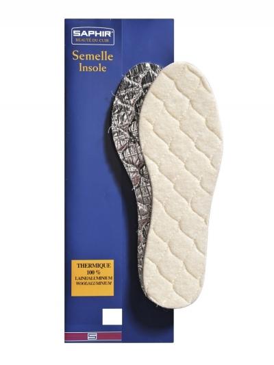 Стельки из шерсти на пенолатексной основе Saphir Semelle Insole Thermique 100% Laine Aluminium, размеры в наличии