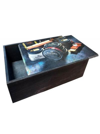 Деревянный короб для хранения обувной косметики и аксессуаров