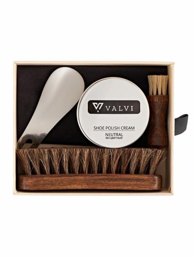 Набор Valvi для ухода за обувью в картонной упаковке.