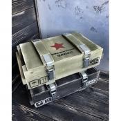 """Деревянный ящик армейский подарочный для хранения обувной косметики """"Стратегический запас"""""""